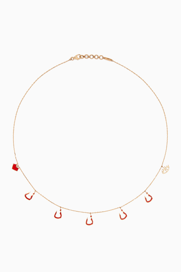 Mina 5 N Letter Enamel Necklace in 18kt Yellow Gold