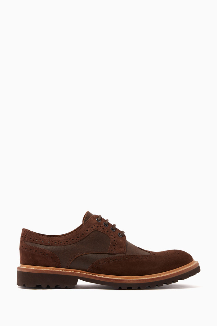 Brogue Derby Shoes in Suede & Leather
