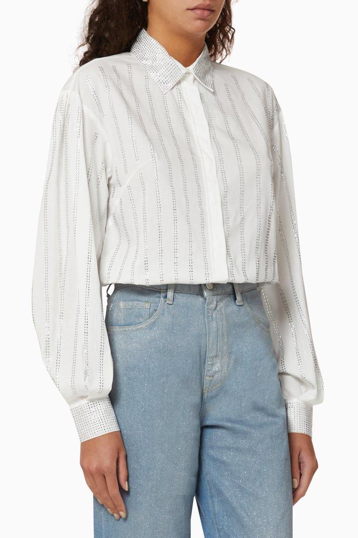 Rhinestone Striped Poplin Shirt
