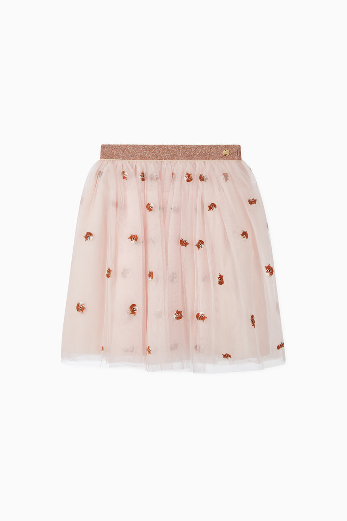 Fox Embroidered Tulle Skirt