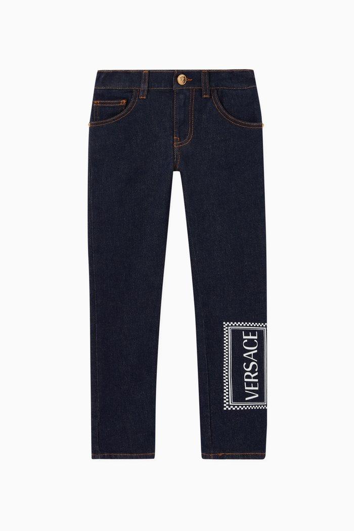 90s Vintage Logo Stretch Cotton Jeans