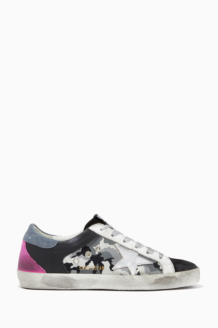 Super-Star Sneakers with Metallic Star in Camouflage Canvas