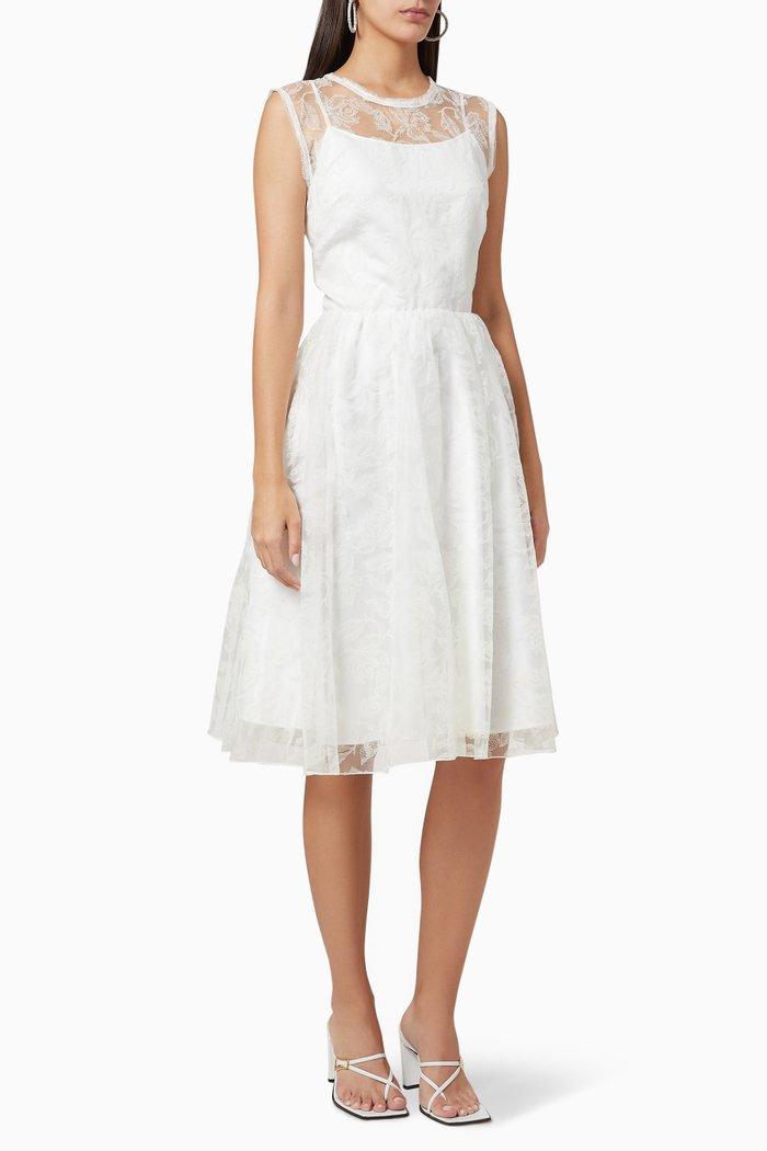 Organza & Lace Midi Dress