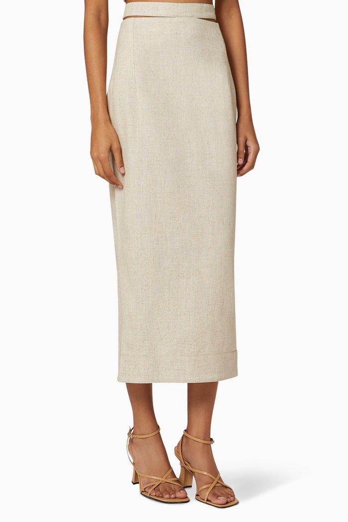 La Jupe Valerie Linen Cutout Belt Skirt