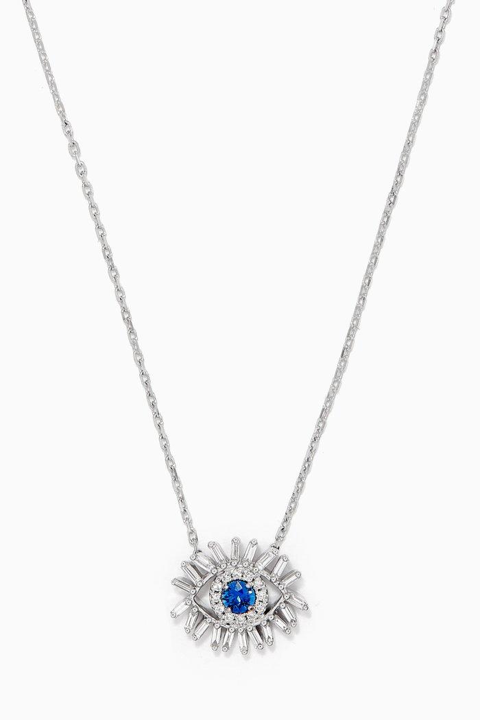 Mini Evil Eye Blue Sapphire Necklace in 18kt White Gold