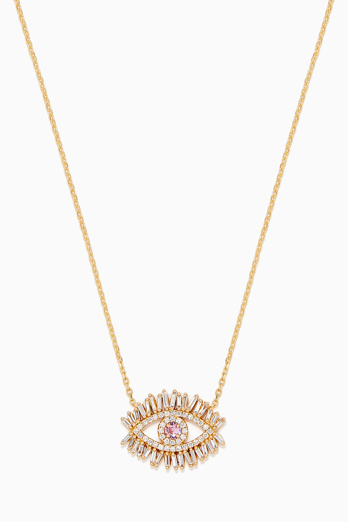 Evil Eye Pink Sapphire Necklace in 18kt Yellow Gold