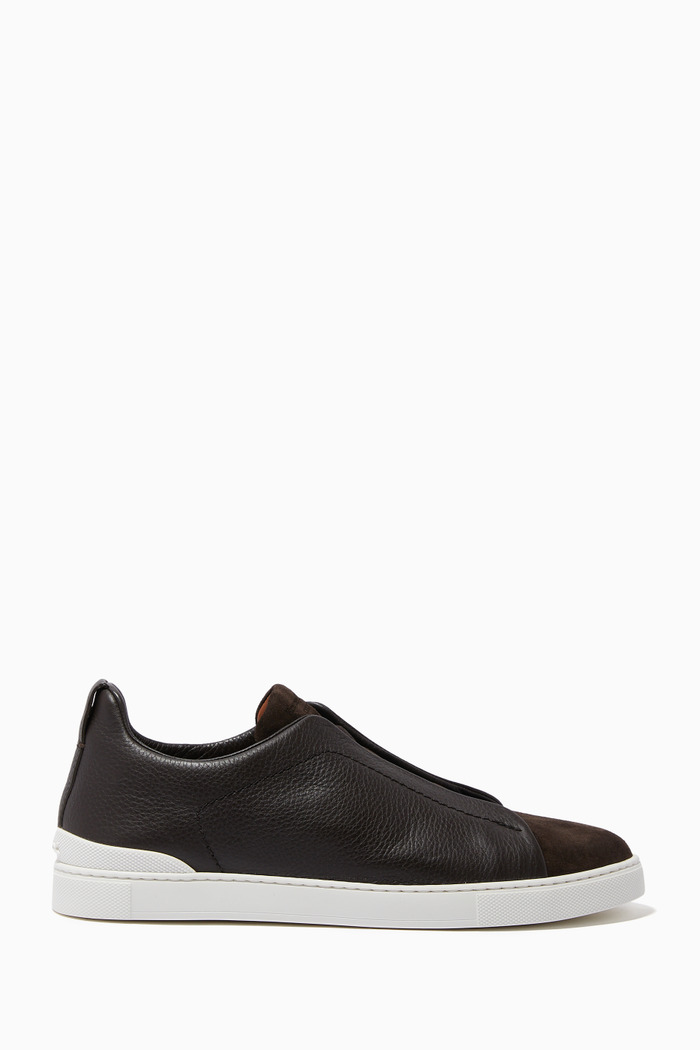 Triple Stitch Sneakers in Grained Calfskin Leather & Suede