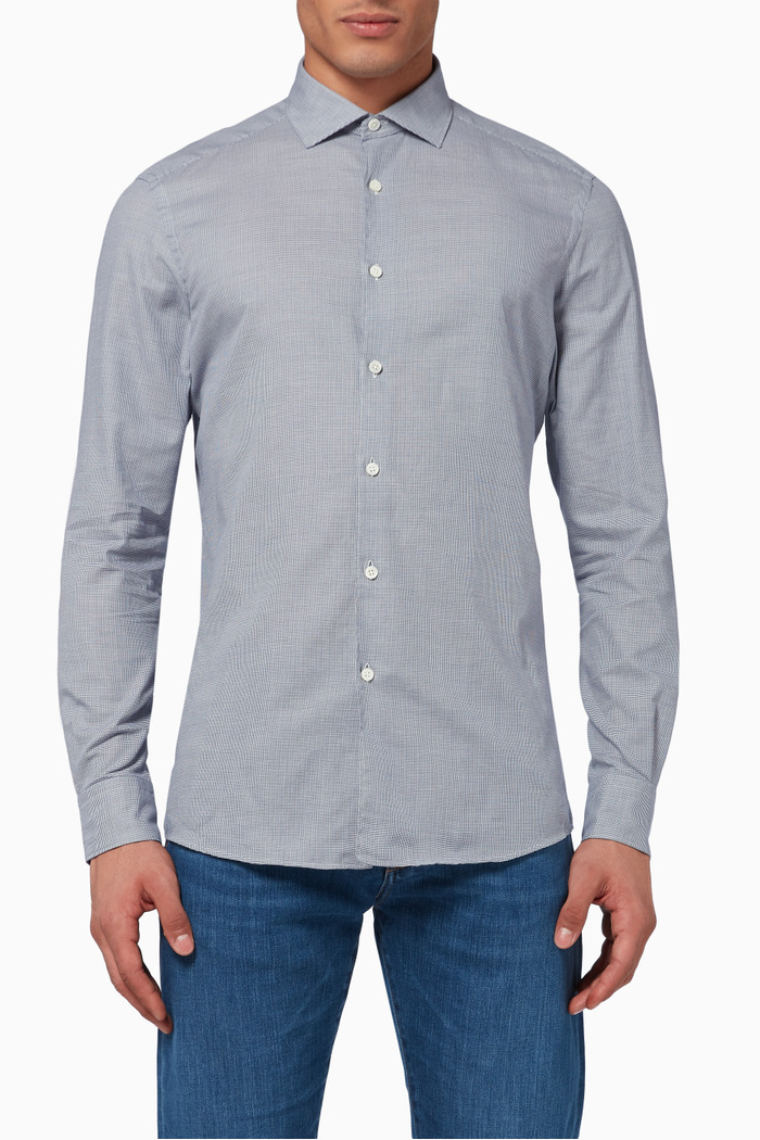 Microstructured Cotton Shirt