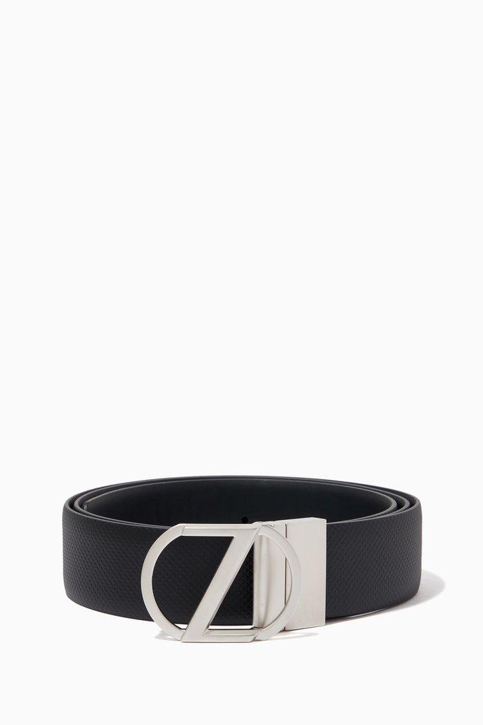 Reversible Belt in Embossed Calfskin Leather