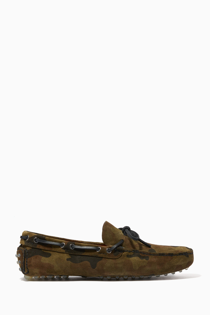 Camouflage Printed Bow Loafers in Suede