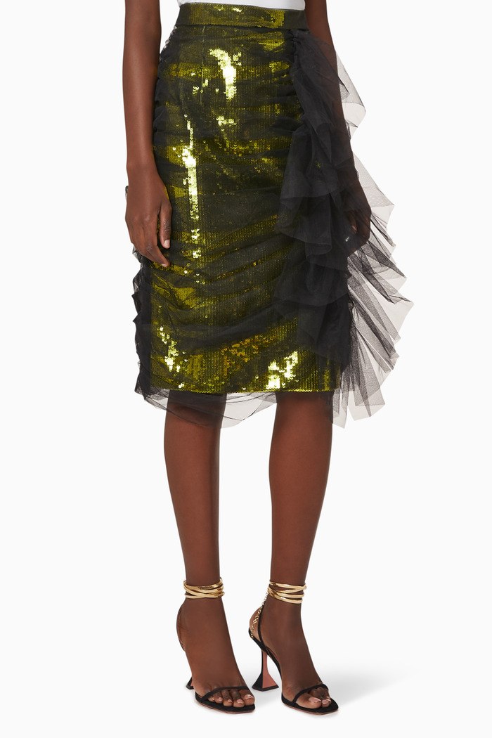 Cecilia Ruched Sequinned Skirt