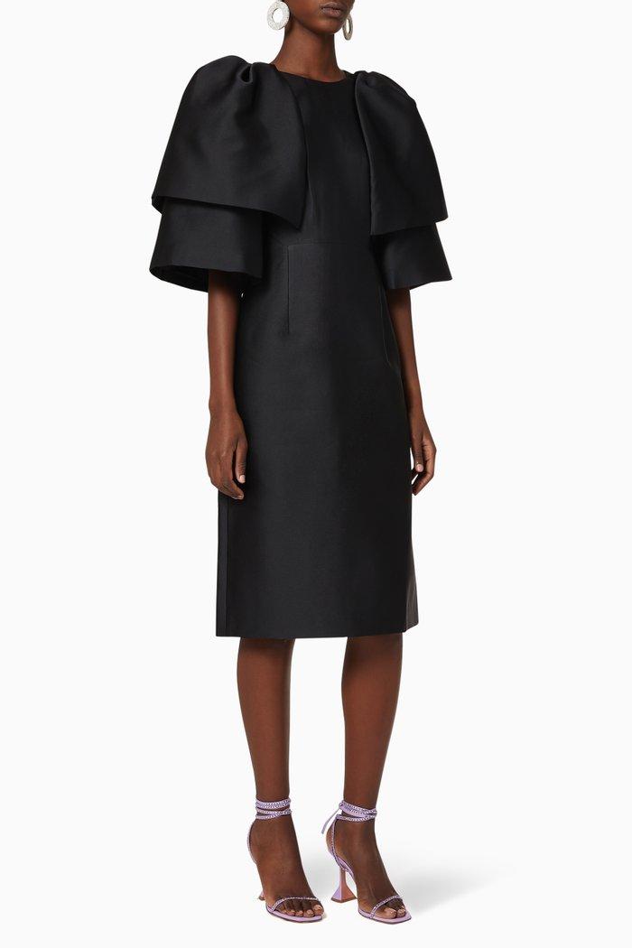 Hilda Tiered Sleeve Satin Midi Dress
