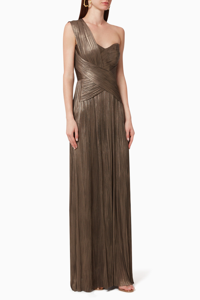 Aiko Pleated Silk Gown