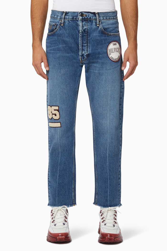 Wide Flare Cropped Denim Jeans