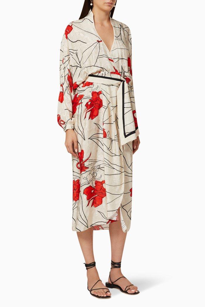 Romantic Message Jacquard Wrap Dress