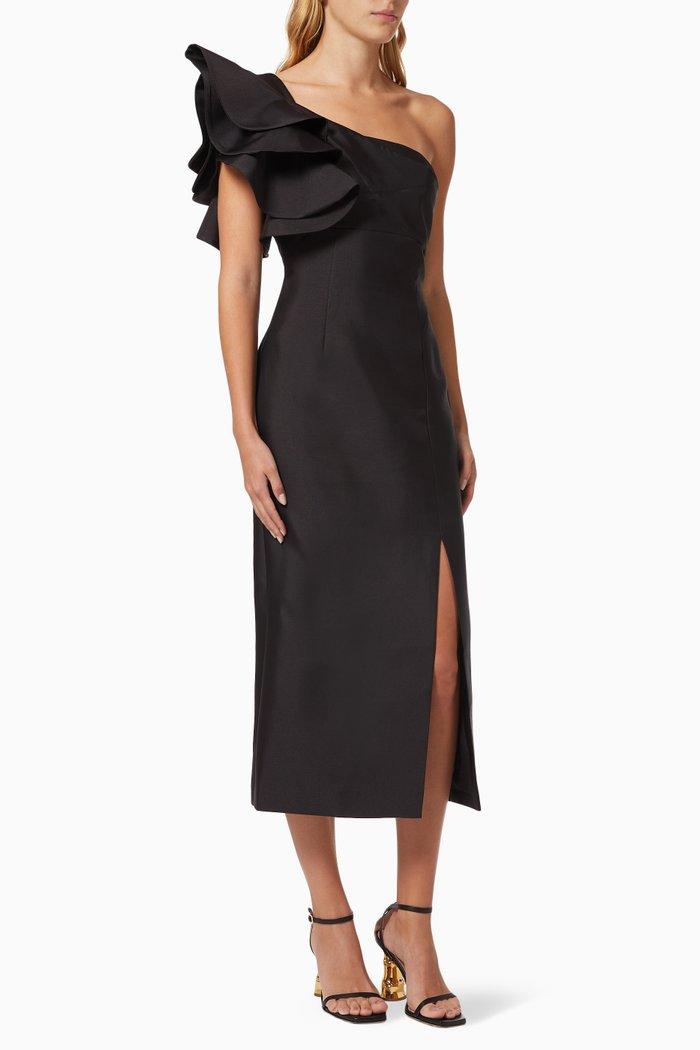 Lightening One-shoulder Midi Dress in Crepe