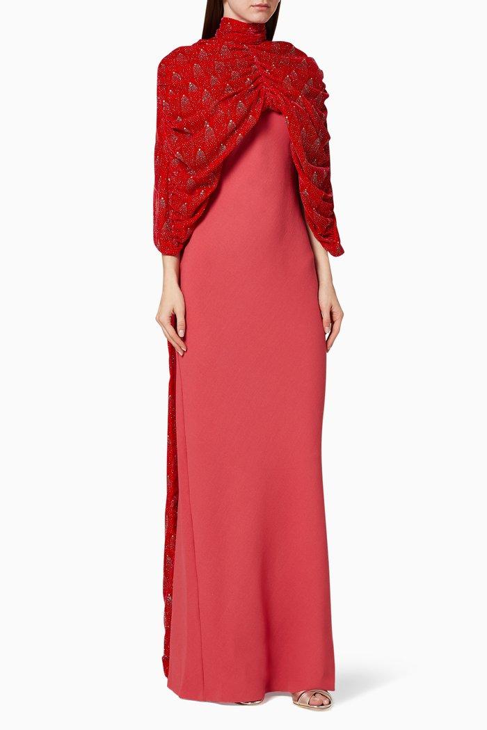 Embellished Velvet Cape Dress