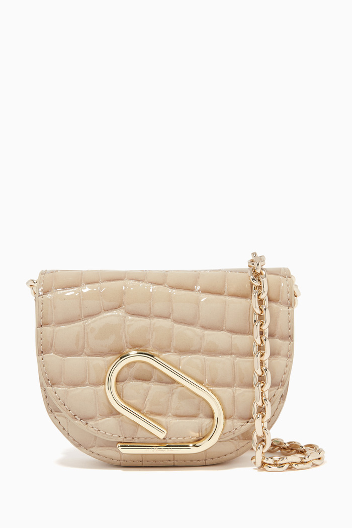 Alix Mini Card Case on Chain in Bubble Croc-Embossed Leather