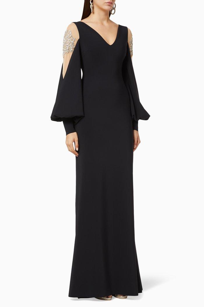 Nala Crystal Embellished Illusion Gown