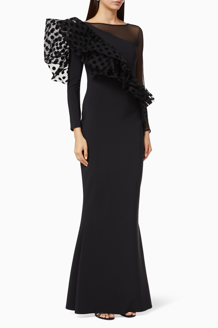 Raven Illusion Ruffled Gown