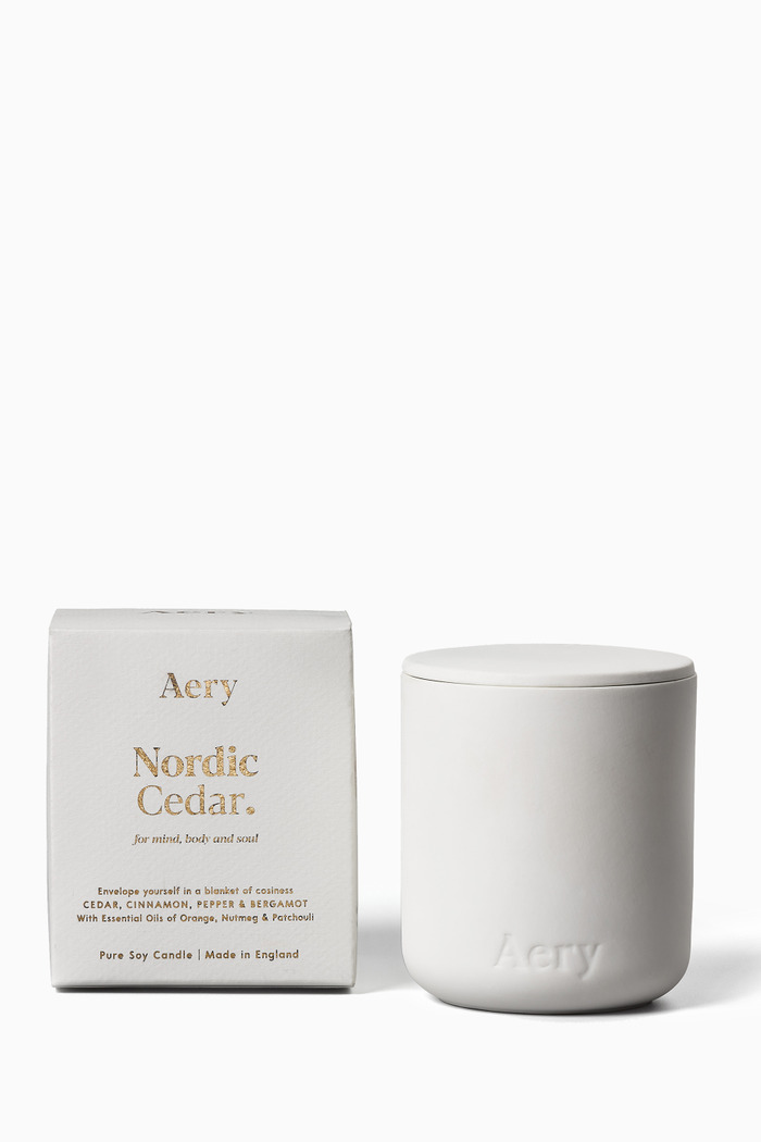 Nordic Cedar Candle in Clay Pot, 280g