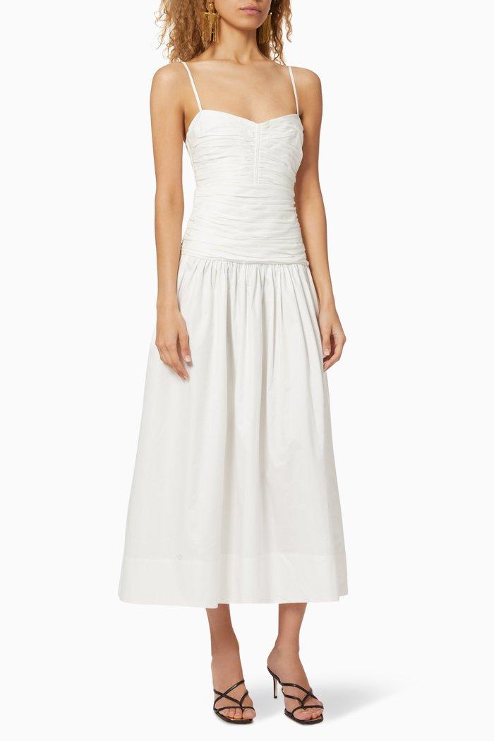 Amaia Ruched Cotton Poplin Dress
