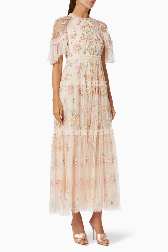 Emma Ditsy Ankle Gown in Kisses Tulle