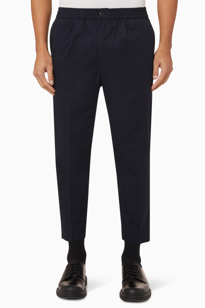 Cotton Gabardine Cropped Trousers