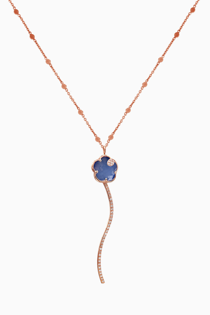 Joli Diamond Necklace with White Agate & Lapis Lazuli in 18kt Rose Gold