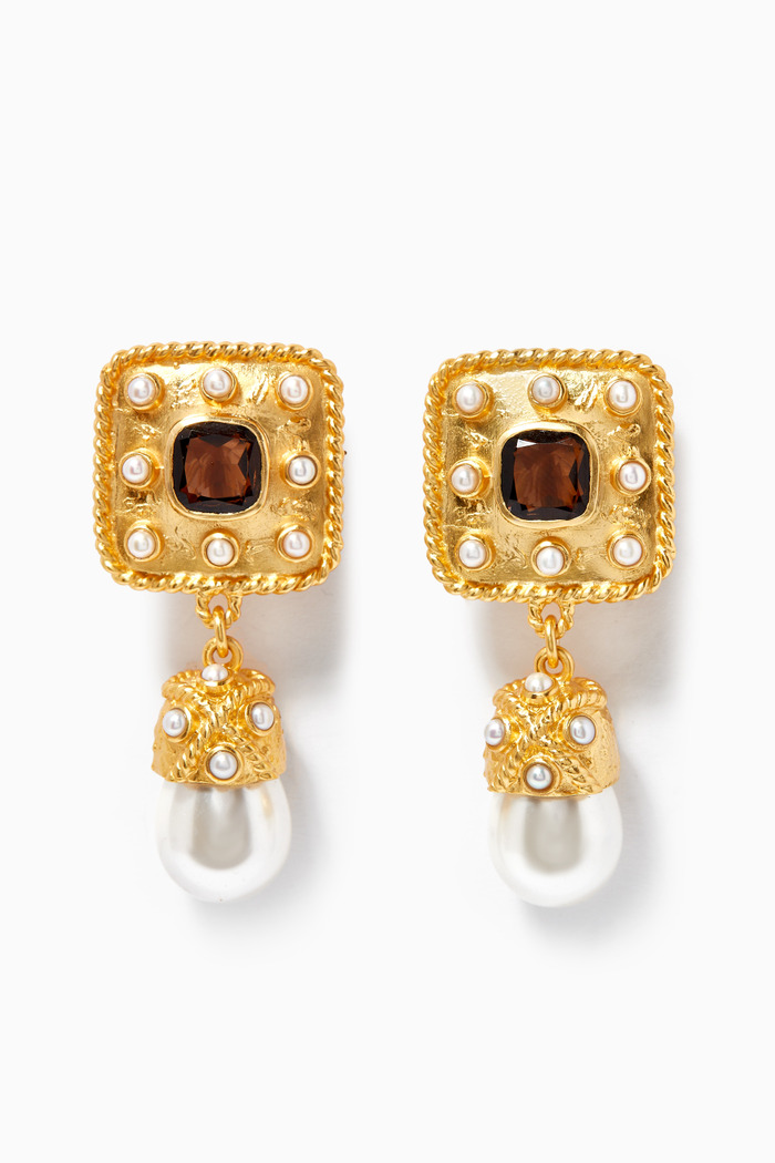 Anona Earrings with Smoky Quartz & Pearls in 24kt Gold Plating