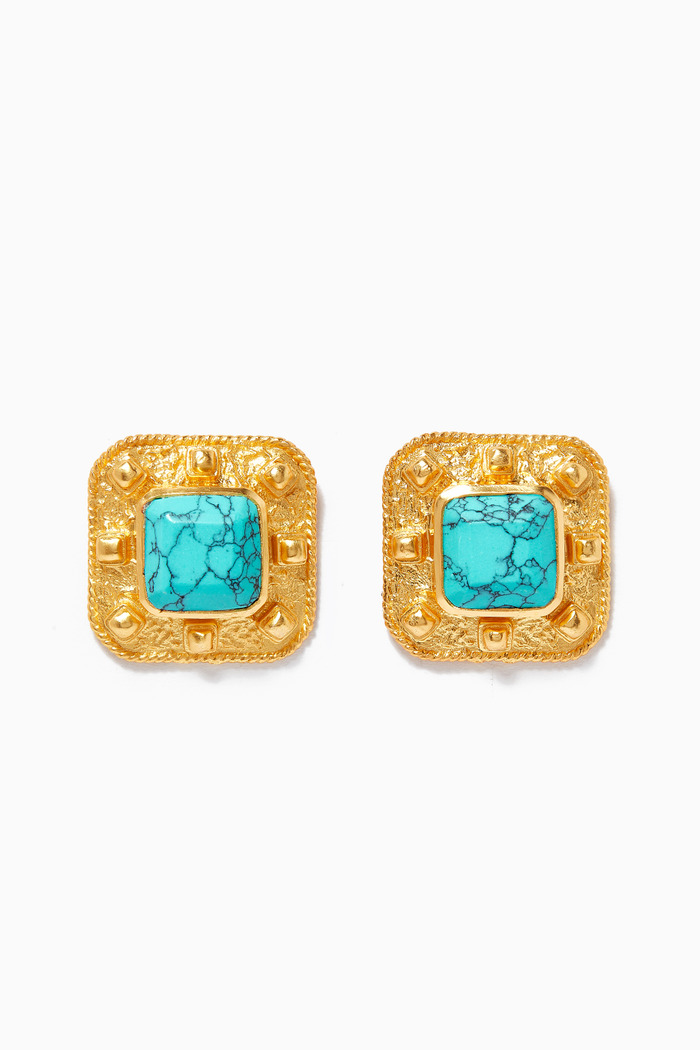 Compass Stud Earrings with Turquoise in 24kt Gold Plating
