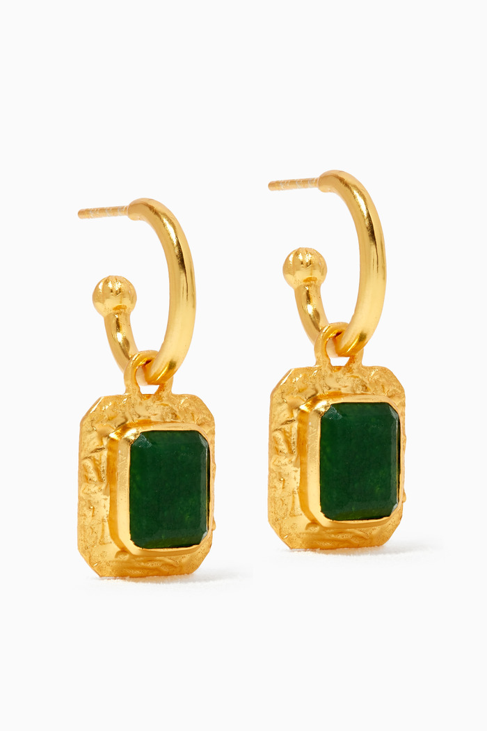 Breeze Earrings with Jade Stone in 24kt Gold Plating