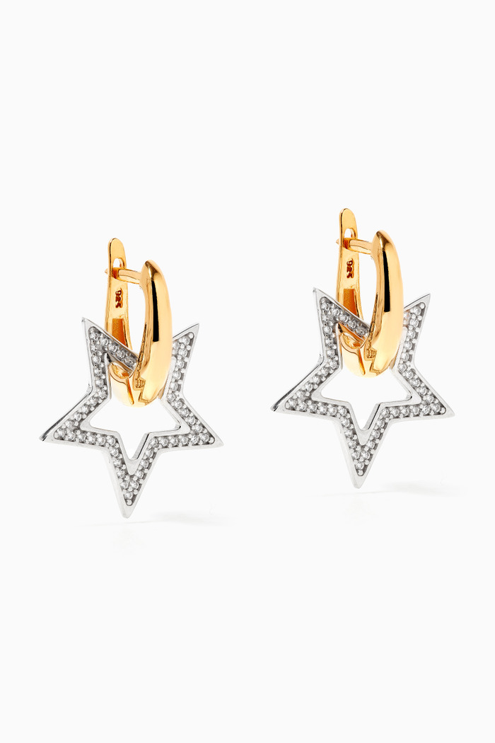 Seeing Stars Earrings in 24k Gold Plated Sterling Silver