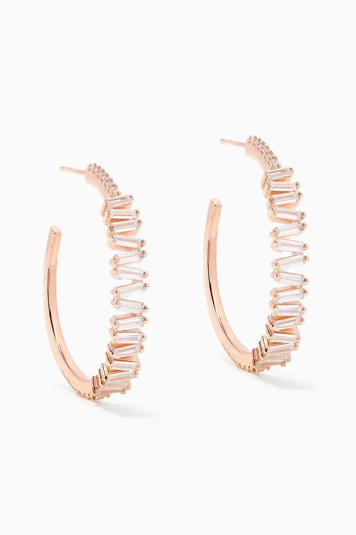 Hoop Zigzag Baguette Stone Earrings in Sterling Silver