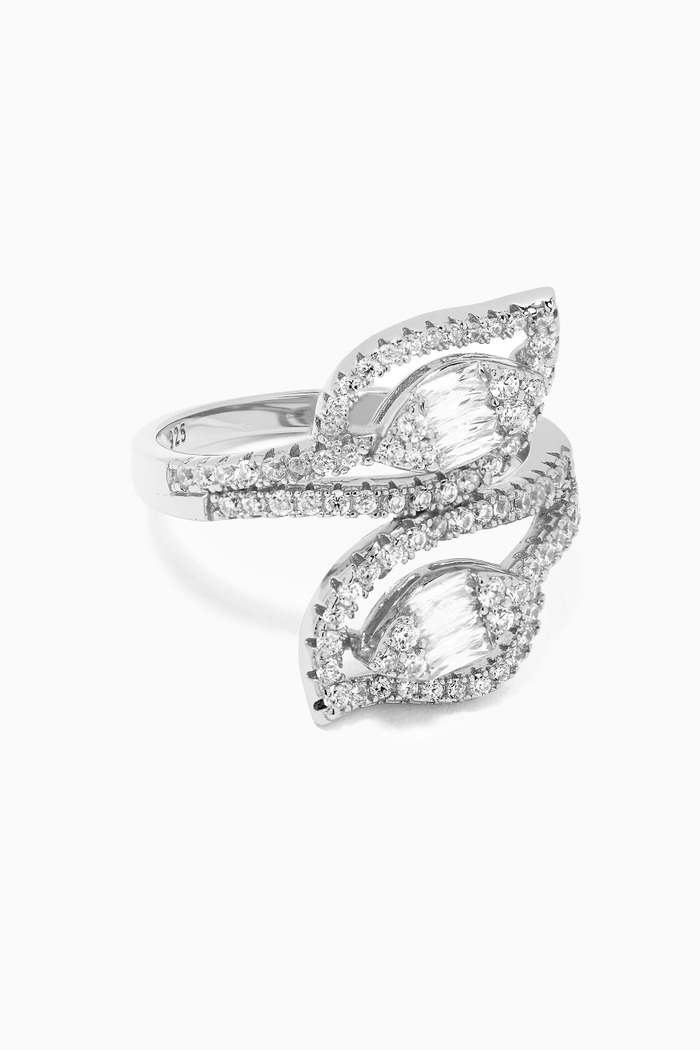 Pave Leaf Ring in Sterling Silver