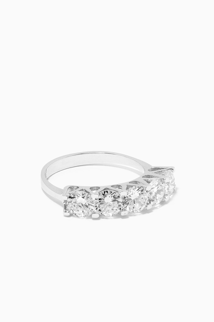 Five Stoned Love Way Ring in Sterling Silver