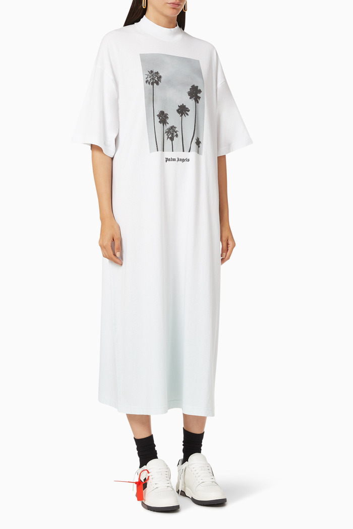 Palm Trees Boulevard Oversized T-shirt Dress in Cotton