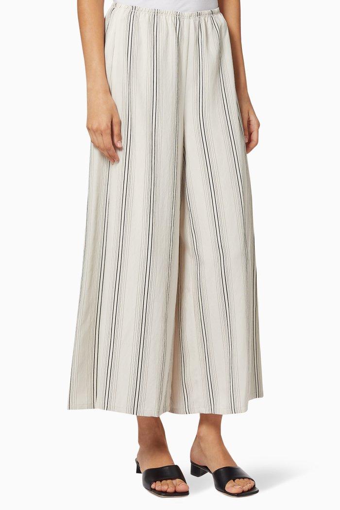 Striped Wide-Leg Culottes