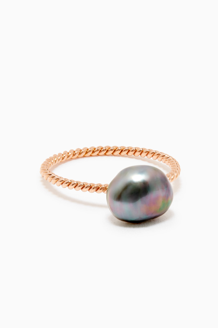 Pearl Twisted Ring in 18kt Rose Gold