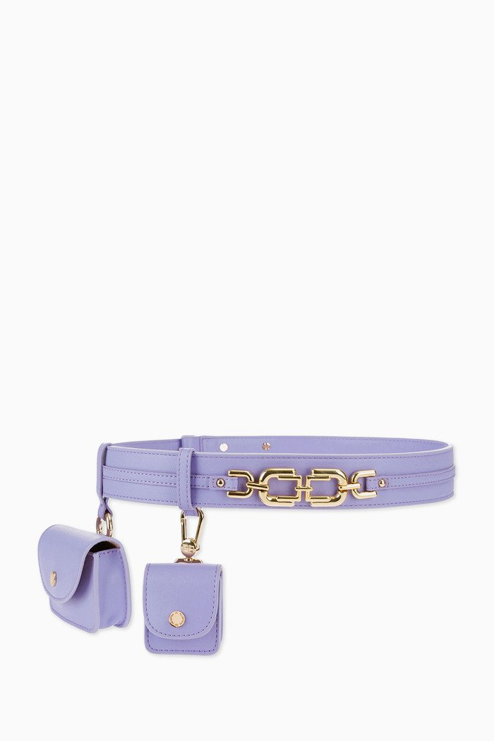 Belt Bag with Chain Strap in Faux Leather