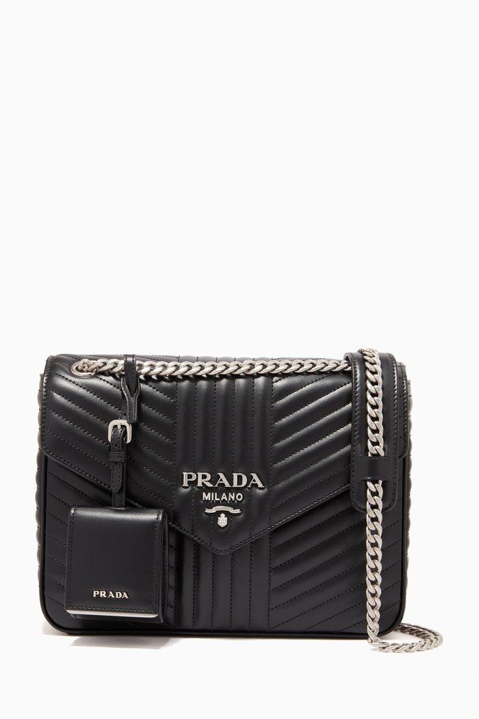 Prada Diagramme Shoulder Bag in Leather