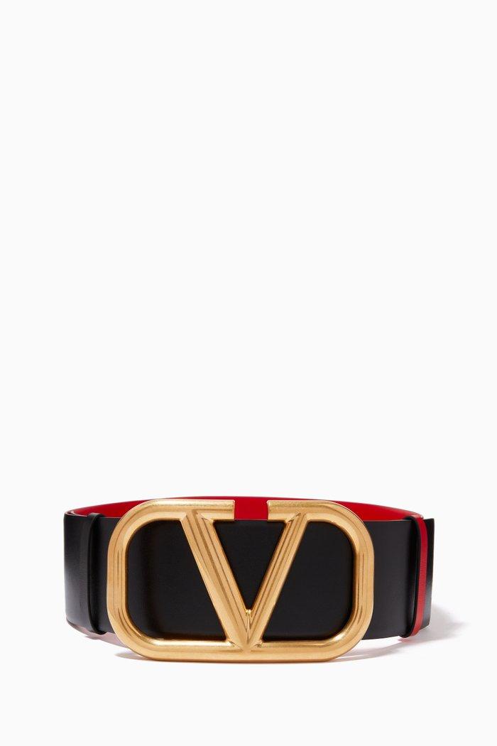 Valentino Garavani VLOGO Reversible Belt in Glossy Calfskin, 70mm