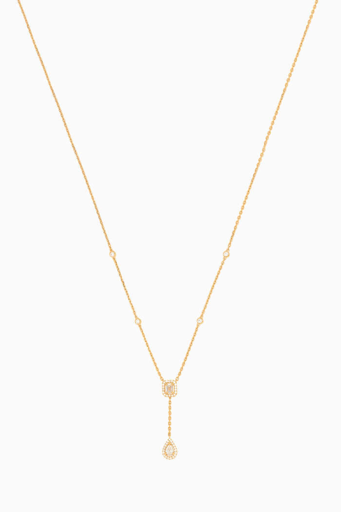 My Twin Tie Diamond Necklace in 18kt Yellow Gold