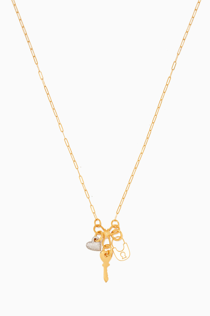 Key & Lock Charm Necklace in 24k Gold Plated Sterling Silver