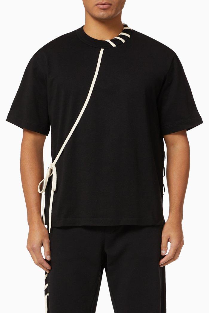 Lace-Up Cotton T-Shirt