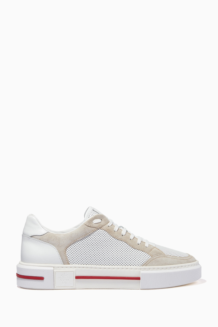 Sneakers in Perforated Leather & Suede