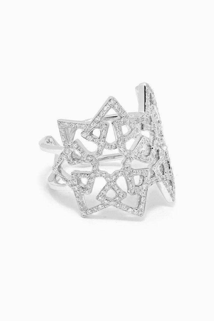 Arabesque Deco Diamond Ring in 18kt White Gold