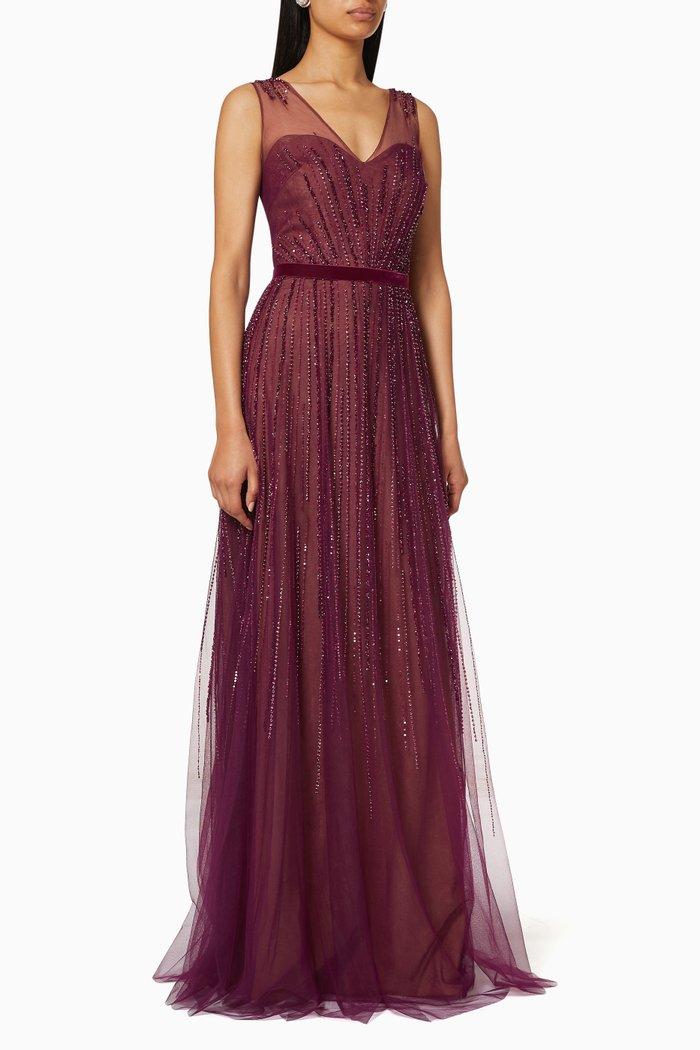 Sleeveless Fully Beaded Gown