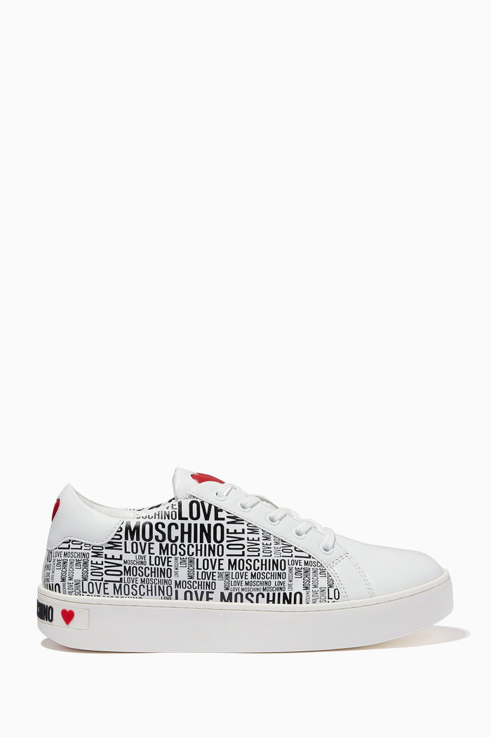 Graphic Logo Sneakers in Leather