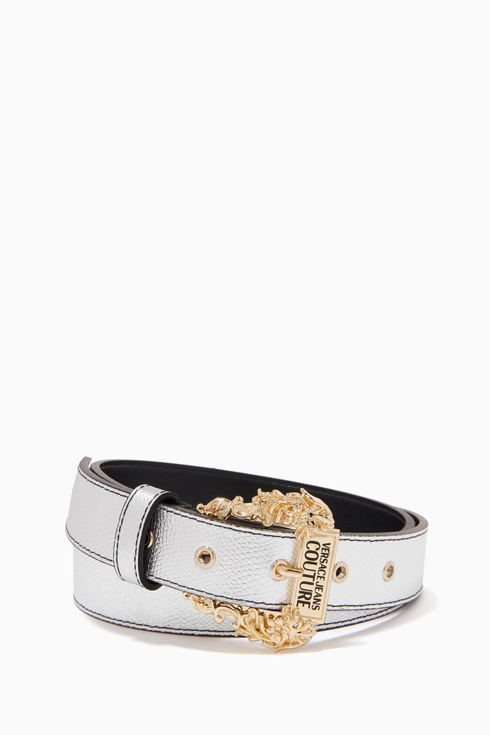 Couture1 Thin Belt in Metallic Leather